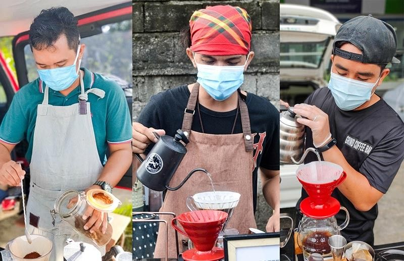 """MOBILE COFFEE SHOPS. The owners of the three mobile coffee shops in Davao City. (From left) Cyrus Paul Cantos of Artisan Brew, John Rey """"Biboy"""" Plaza of Kapeweñoz, and  Arnold Seron of Grind Coffee Davao. (Photo by RJ Lumawag)"""