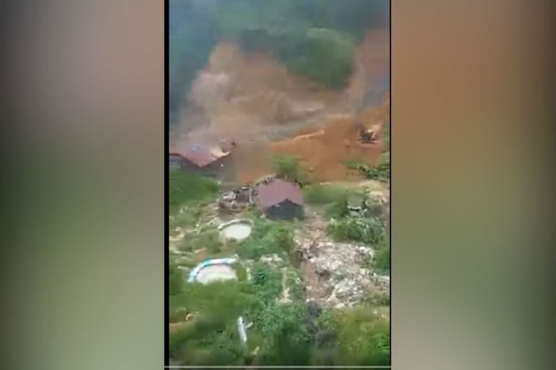 Screenshot of the actual video of the landslide at the Dampakan in Purok 22, Barangay Mt. Diwata in Monkayo posted by PIA-Davao de Oro