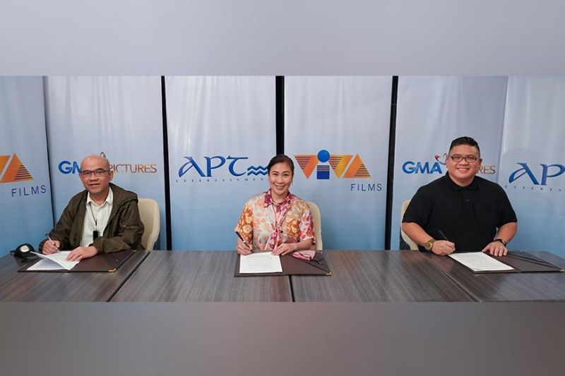 PURE SOUL. (L-R) Viva Communications Inc. President and COO Vincent Del Rosario, GMA Films, Inc. President and Programming Consultant to the Chairman and CEO Atty. Annette Gozon-Valdes and APT Entertainment Inc. CEO. (Contributed photo)