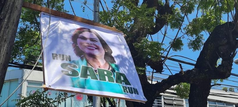 NEGROS. Tarps bearing words urging Davao City Mayor Sara Duterte-Carpio to run for president have been noticed in major streets in Bacolod City. (Contributed photo)