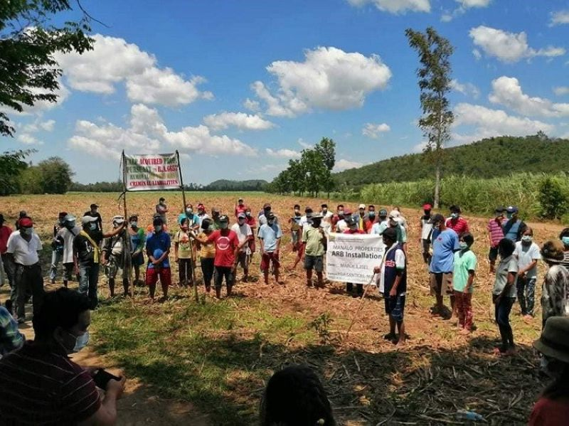 LA CASTELLANA. Some of the 72 agrarian reform beneficiaries from Barangay Robles in La Castellana town during their installation as the new landowners of 43-hectare landholdings earlier this week. (Contributed photo)