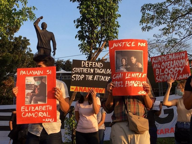MANILA. Human rights groups and progressive organizations protest the killing of five activists during simultaneous police raids on Sunday, March 7, 2021. (Karapatan)