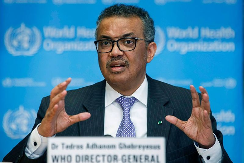 SWITZERLAND. In this March 9, 2020 file photo, Tedros Adhanom Ghebreyesus, director general of the World Health Organization, speaks during a news conference at the WHO headquarters in Geneva, Switzerland. (AP)
