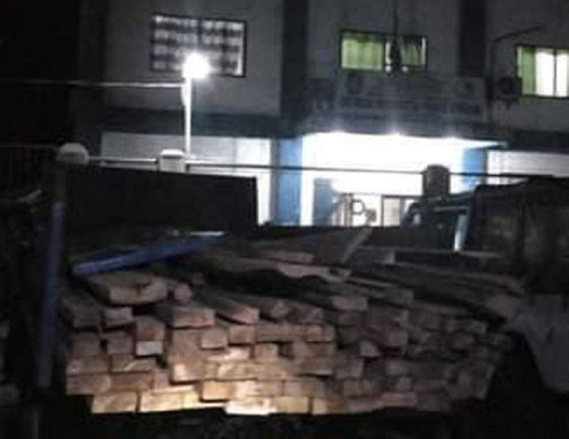 ZAMBOANGA. Department of Environment and Natural Resources (DENR) personnel seize last week illegally cut lumbers in Gutalac, Zamboanga del Norte. A photo handout shows the confiscated lumber now deposited at the DENR office in Liloy town in the same province. (SunStar Zamboanga)