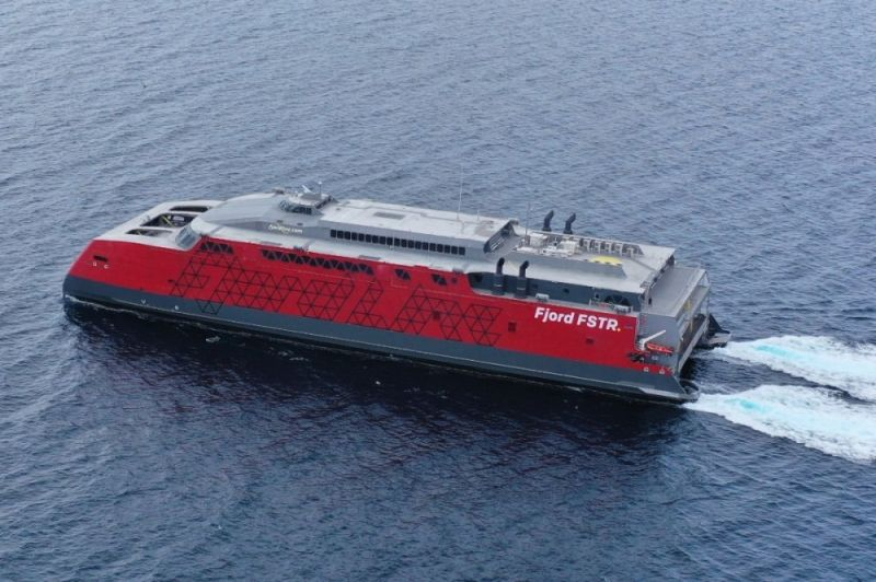 LARGEST FERRY.  Fjord Line's FSTR (Austal Hull 419) is a 10- meter high-speed vehicle-passenger ferry designed by Austal Australia and constructed by Austal Philippines. / (AUSTAL PHILIPPINES)