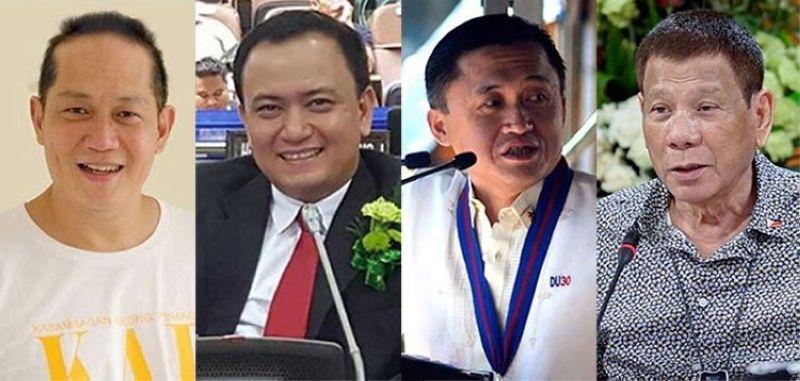 CEBU. (From left) Cebu City Councilors Franklin Ong and Raymond Garcia, Senator Bong Go and President Rodrigo Duterte. (SunStar File)