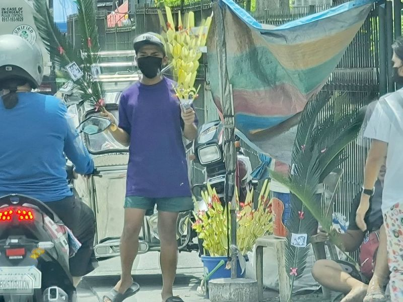 PALMS FOR SUNDAY. Enterprising Angelenos sell palm branches to motorists in Barangay Sto. Rosario in Angeles City in preparation for Palm Sunday. (Chris Navarro)