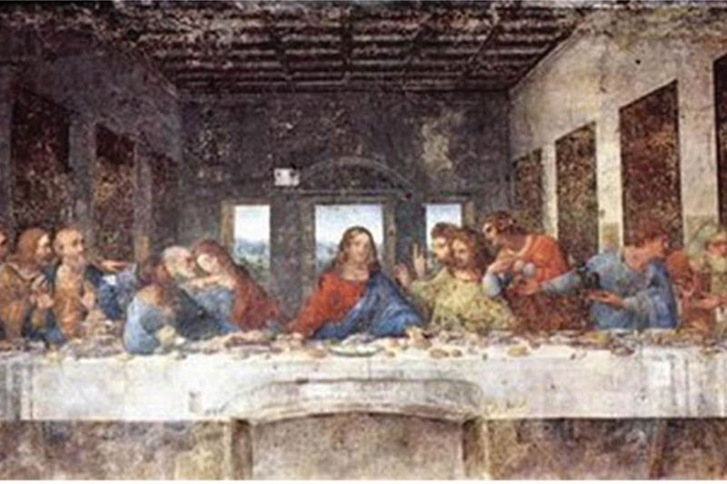"ART. The famous painting of ""The Last Supper"" by artist Leonardo da Vinci, shows Jesus Christ, center, sharing a meal with His 12 disciples, prior to His Crucifixion."