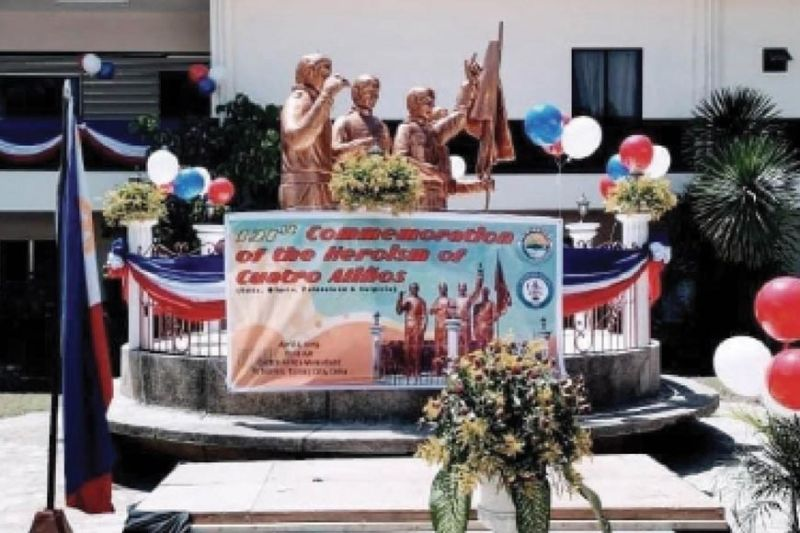 MEMENTOS OF COURAGE. The statues  of the Cuatro Aliños stand in the Talisay City College in Cebu. The Cuatro Aliños are the brothers Hilario, Potenciano, Felix and Sulpicio who fought the Spanish imperial forces and resisted the American colonial forces in the late 1890s and early 1900s. This photo was taken on April 2, 2019, during the 121st commemoration  of the Cuatro Aliños' bravery. (Contributed photo)