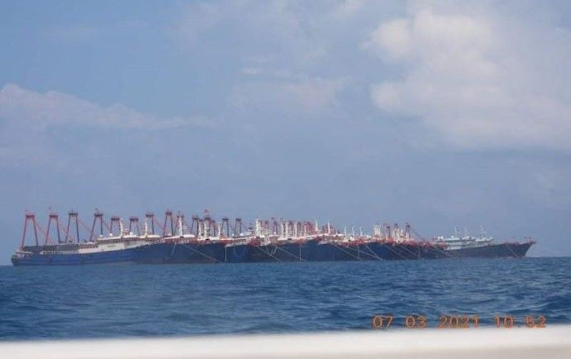 Some of the Chinese ships spotted near the Julian Felipe Reef in the West Philippine Sea. (File)