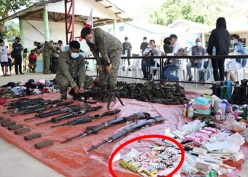NEGROS. Boxes of anti-pregnancy pills were found along with other personal stuffs of NPAs during scouring conducted by government troops. (Contributed Photo)
