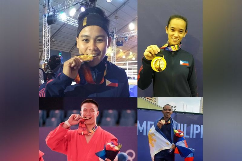 CASH INCENTIVES. (Top, from left) Southeast Asian (SEA) Games 2019 gold medalists Nesthy Alcayde Petecio (women's boxing), Jezebel Morcillo (women's arnis), (bottom, from left) Chino Sy (men's sambo), and Mark Anthony Alcoseba (men's soft tennis) are among the recipients of cash incentives from the City Government of Davao, which recognize their sacrifice and painstaking efforts to bring honor to the city and the country. (Contributed photo)