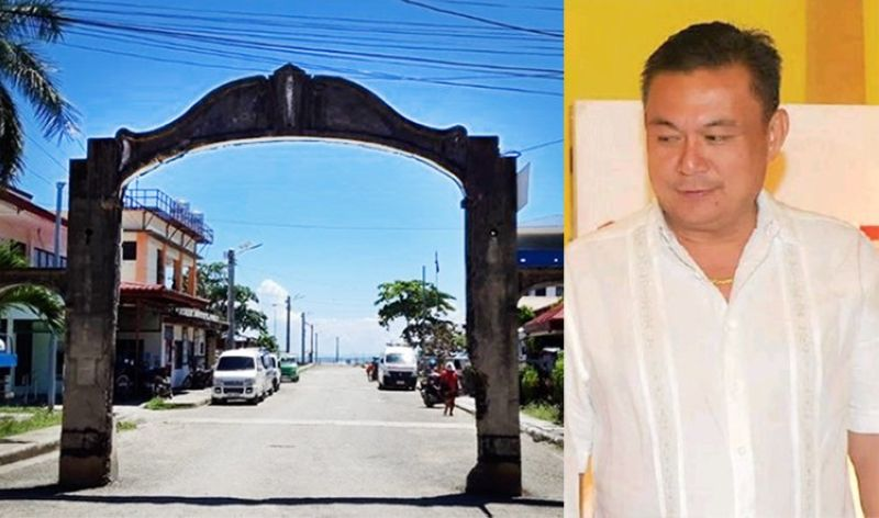 CEBU. The arch at the entrance of the municipal wharf in Sibonga and Mayor Lionel Bacaltos. (Contributed/SunStar File)