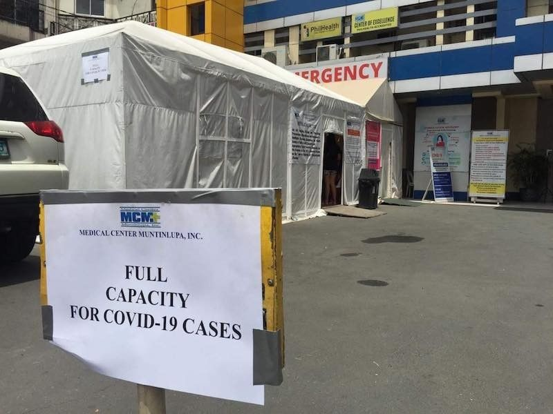 MANILA. A sign indicating that there are no more beds for Covid-19 patients is placed at the entrance to the Medical Center Muntinlupa on April 13, 2021. (Contributed via Third Anne Peralta-Malonzo)