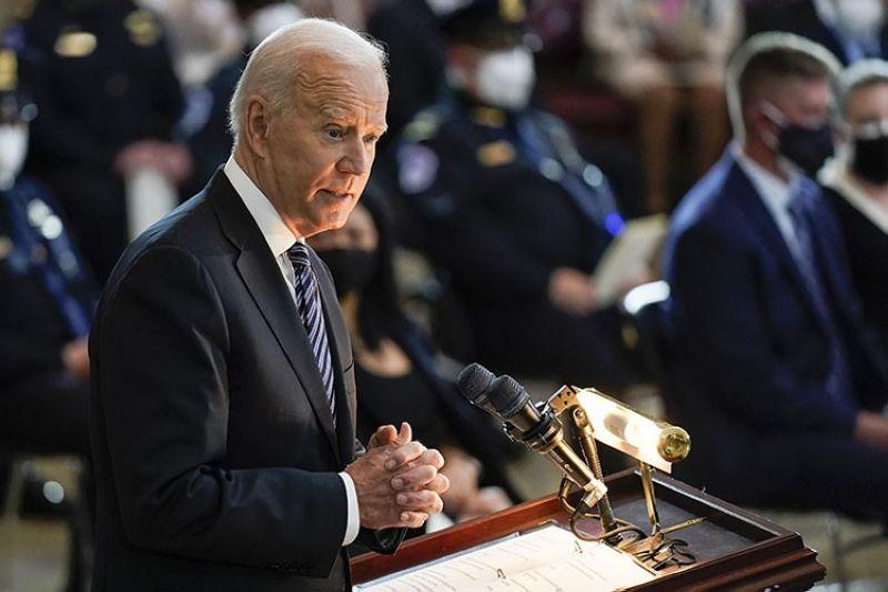President Joe Biden speaks during a ceremony to honor slain U.S. Capitol Police officer William