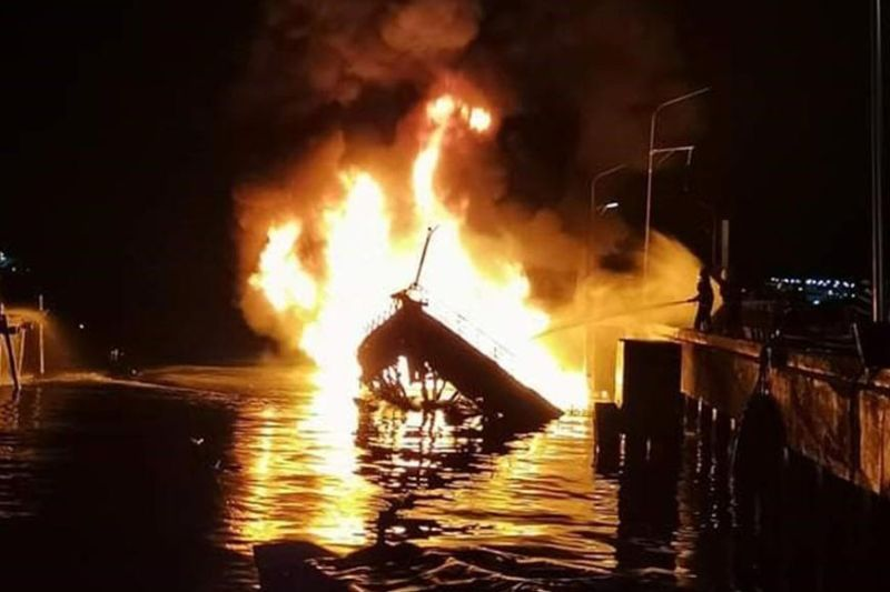 ZAMBOANGA. M/L Saidamae, which carried some 150 drums of fuel, catches fire late Friday as the crew prepares to leave from a private wharf in Baliwasan village, Zamboanga City. Two died and three were hurt during the incident. (SunStar Zamboanga)