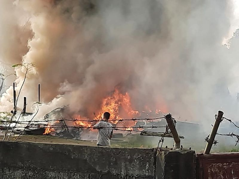 CAGAYAN DE ORO. A fire hit a junkyard of a bus company in Barangay Igpit, Opol, Misamis Oriental Tuesday afternoon, April 20, 2021. (Photo by Menzie Montes)