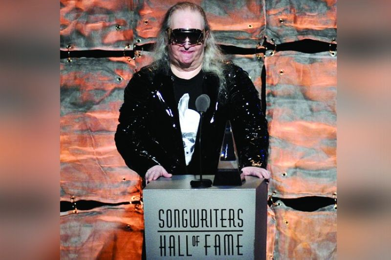 "Inductee Jim Steinman speaks at the 2012 Songwriters Hall of Fame induction and awards gala in New York on June 14, 2012. Steinman, the Grammy-winning composer and playwright who wrote Meat Loaf's best-selling ""Bat Out Of Hell"