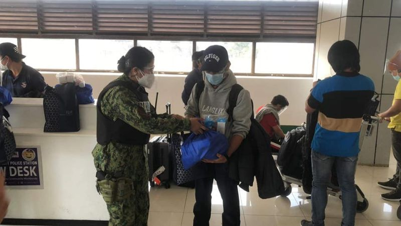 OFW ABDUCTEES RETURN VIA CLARK. Mabalacat City Police Station, led by Lieutenant Colonel Rossel Cejas, assisted in the arrival of 10 OFW returnees on board a Qatar Airways flight from West Africa on April 19, 2021 at the Clark International Airport. (Mabalacat City Information Office)