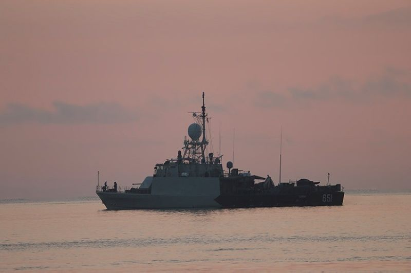 INDONESIA. An Indonesian navy patrol ship sails to join the search for submarine KRI Nanggala that went missing while participating in a training exercise on Wednesday, off Banyuwangi, East Java, Indonesia Sunday, April 25, 2021. (AP)