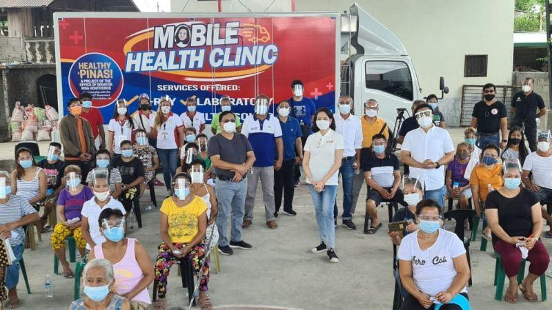 HEALTHY PINAS! Senator Risa Hontiveros, BBIF chairman Dr. Irineo Alvaro, Jr. and Councilor Koko Gonzales led Monday's (April 26, 2021) launching of the Mobile Health Clinic in Barangay Turu, Magalang, Pampanga. (Chris Navarro)