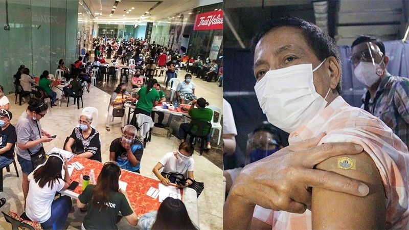 CEBU. The vaccination site at Robinsons Galleria (left) where Cebu City Vice Mayor Mike Rama (right) received his first dose of Covid-19 vaccine on April 20, 2021. (SunStar File/Cebu City PIO)