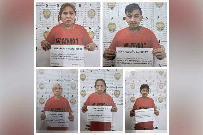 ABORTED ACTIVITY. The National Bureau of Investigation 7 arrests on April 29, 2021 (from top, clockwise) Maryteissie Pode Rural, Joey Paulino Guirigay, Gloria Dalogdog Gabutin, Francisca Abatayo Rebamonte, and Amparo Lumagbas Gemarangan for allegedly offering abortion on social media. (NBI 7)