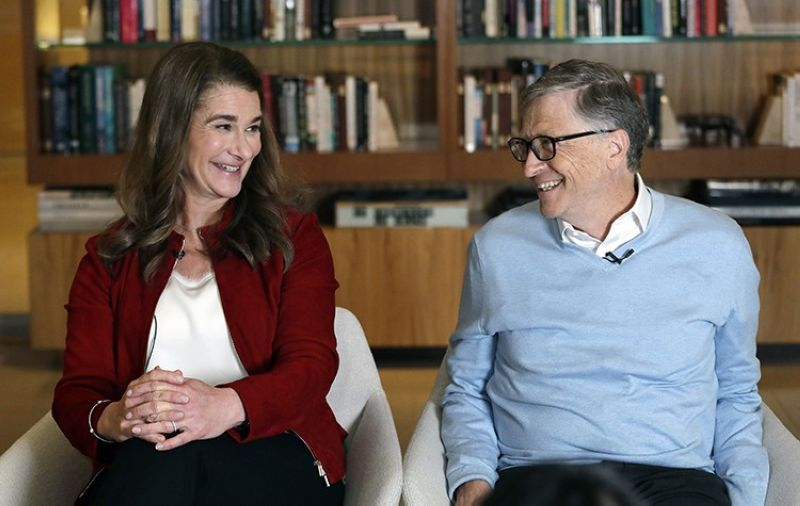 In this Feb. 1, 2019, file photo, Bill and Melinda Gates smile at each other during an interview in Kirkland, Wash. The couple announced Monday, May 3, 2021, that they are divorcing. The Microsoft co-founder and his wife, with whom he launched the world's largest charitable foundation, said they would continue to work together at The Bill & Melinda Gates Foundation. (AP Photo)