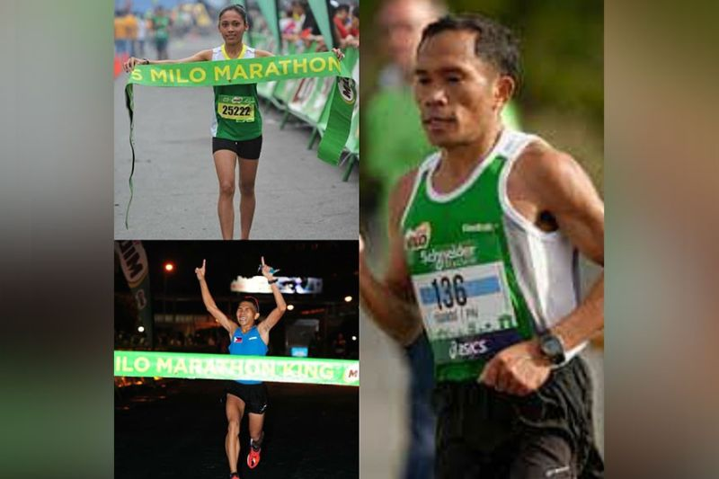 MILO MINDANAO CHAMPS OVER THE YEARS. The champion journeys of (from top left) Christine Hallasgo, (bottom left) the late Rafael Poliquit, and (right) Eduardo Buenavista, were all thanks to the National Milo Marathon, which has been building and fulfilling dreams of athletes like them over the years. (Milo Photo)
