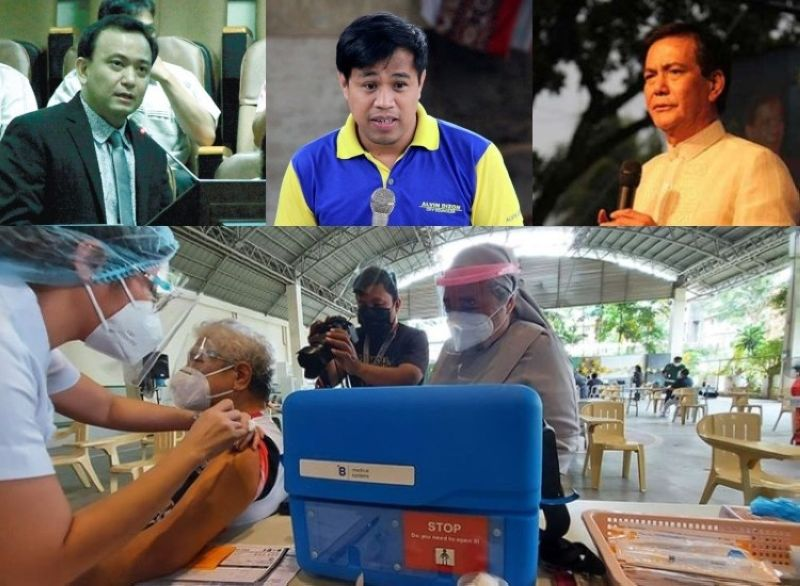 CEBU. (Clockwise)   Majority Floorleader Raymond Garcia, Councilor Alvin Dizon, Vice Mayor Michael Rama, and a vaccination site in Cebu City. (File photos/Amper Campaña)