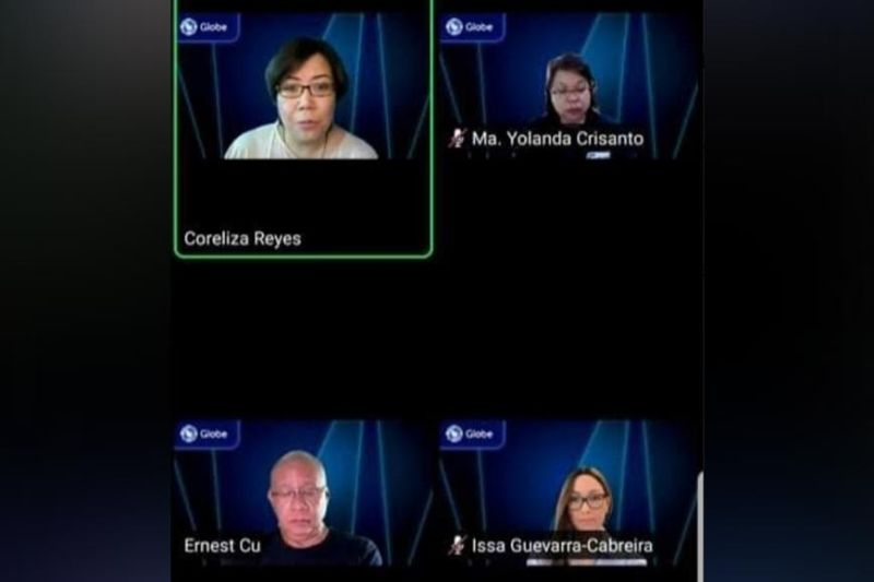 BACOLOD. Globe Telecom Inc. officials led by its president and chief executive officer Ernest Cu (lower left) during the Globe First Quarter Virtual Media Briefing on Friday. (Contributed photo)
