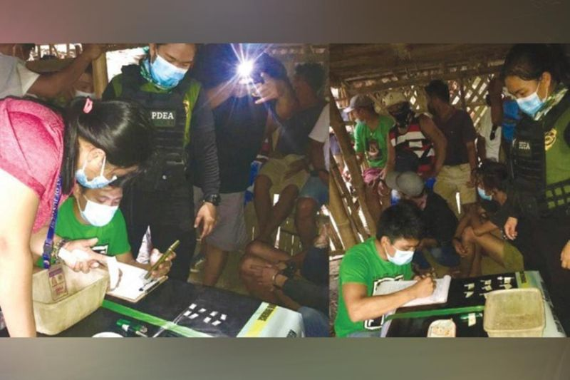 DRUG RAID. Authorities arrest 17 people after raiding a suspected drug den in Barangay 6, Kabankalan City, Saturday morning.