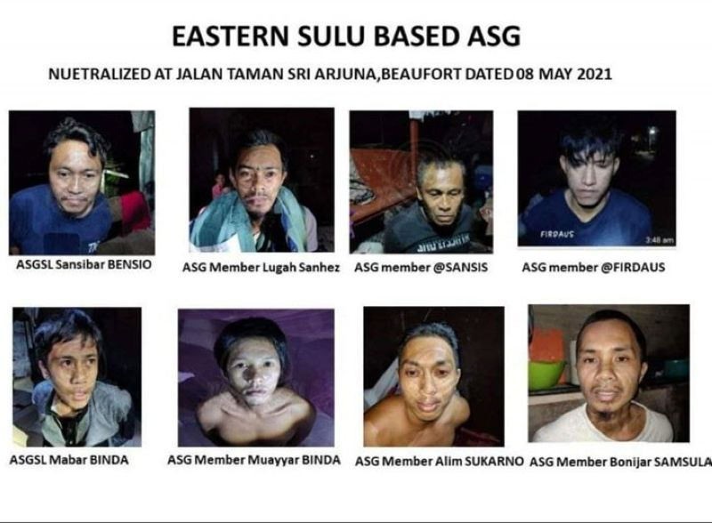 ZAMBOANGA. Authorities in Sabah arrest in a police special operation two mid-level leaders and six followers of the Sulu-based Abu Sayyaf Group on Saturday, May 8, 2021. A photo handout shows the photographs of the arrested Abu Sayyaf bandits. (SunStar Zamboanga)