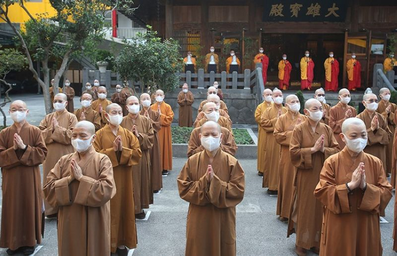 TAIWAN. Monks and nuns pray together during Buddha's Birthday celebrations at the Lin Chi Temple in Taipei, Taiwan, Sunday, May 9, 2021. (AP)
