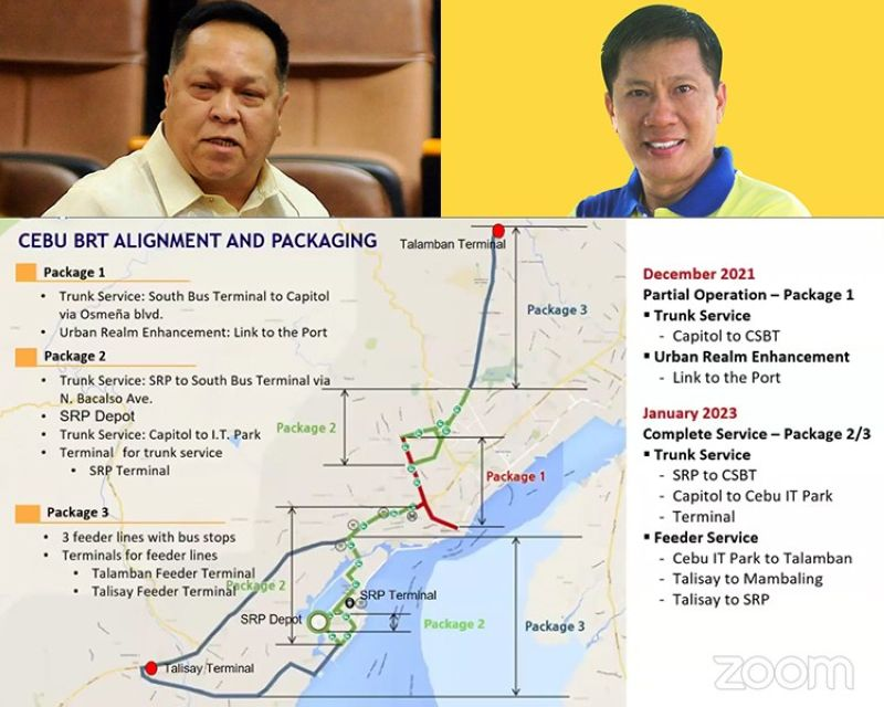 Cebu City Councilors James Cuenco (top, left) and Nestor Archival (top, right) and a sketch of the BRT route. (SunStar File/Screenshot from Cebu City Vice Mayor's Office Facebook page)