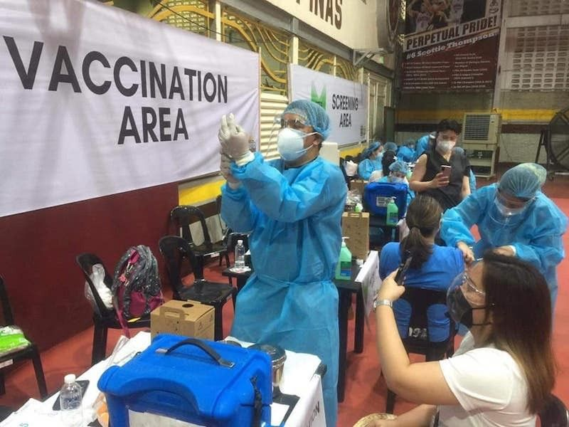 A vaccination center in Las Piñas City, Metro Manila. (File)