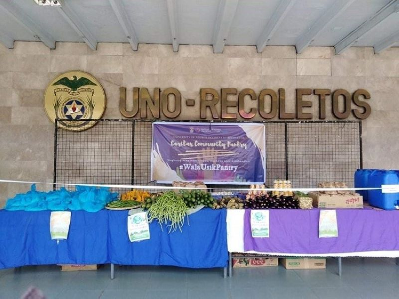 BACOLOD. The zero-waste community pantry established by student leaders at the main entrance of the University of Negros Occidental - Recoletos in Bacolod City. (Contributed photo)