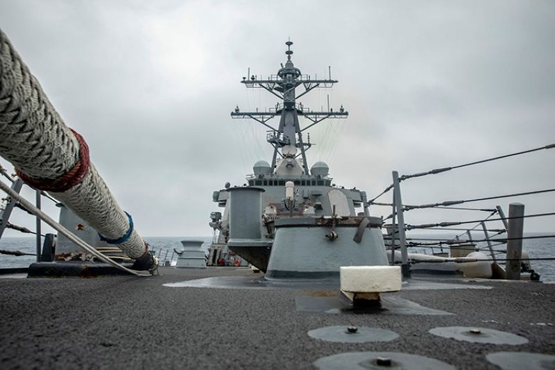 TAIWAN. In this photo released by the US Navy, the US Arleigh Burke-class guided-missile destroyer USS Curtis Wilbur (DDG 54) conducts routine operations in the Taiwan Strait, May 18, 2021. (AP)