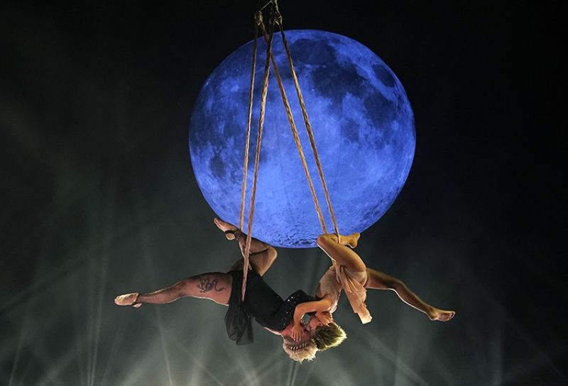 Icon award recipient Pink her daughter Willow perform together on a trapeze at the Billboard Music Awards, Friday, May 21, 2021, at the Microsoft Theater in Los Angeles. The awards show airs on May 23 with both live and prerecorded segments. (AP Photo/Chris Pizzello)