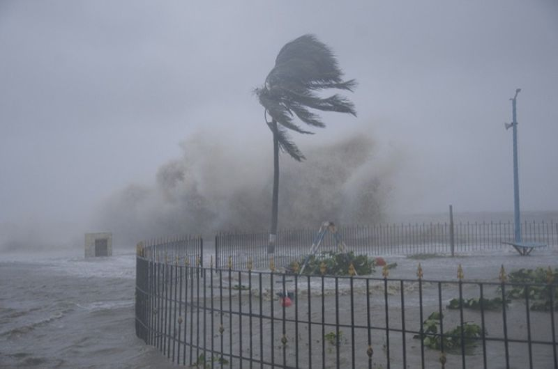 Heavy winds and sea waves hit the shore at the Digha beach on the Bay of Bengal coast as Cyclone Yaas intensifies in West Bengal state, India, Wednesday, May 26, 2021. Heavy rain and a high tide lashed parts of India's eastern coast as the cyclone pushed ashore Wednesday in an area where more than 1.1 million people have evacuated amid a devastating coronavirus surge. (AP Photo)