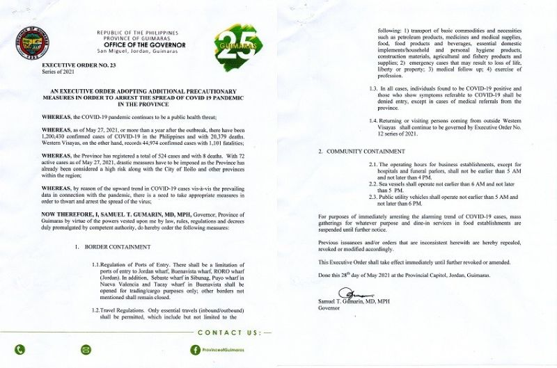 GUIMARAS. Governor Samuel T. Gumarin issued Executive Order No. 23, series of 2021 adopting additional measures to arrest the spread of Covid-19. (Contributed photo)