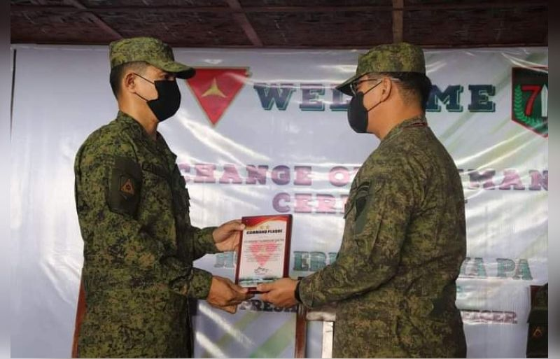 NEW COMMANDER. The new commander of the 79th Infantry 'Masaligan' Battalion, Lt. Col J-Jay Javines was installed at the Battalion Headquarters at Barangay Bato in Sagay City on May 28.  (Contributed Photo)