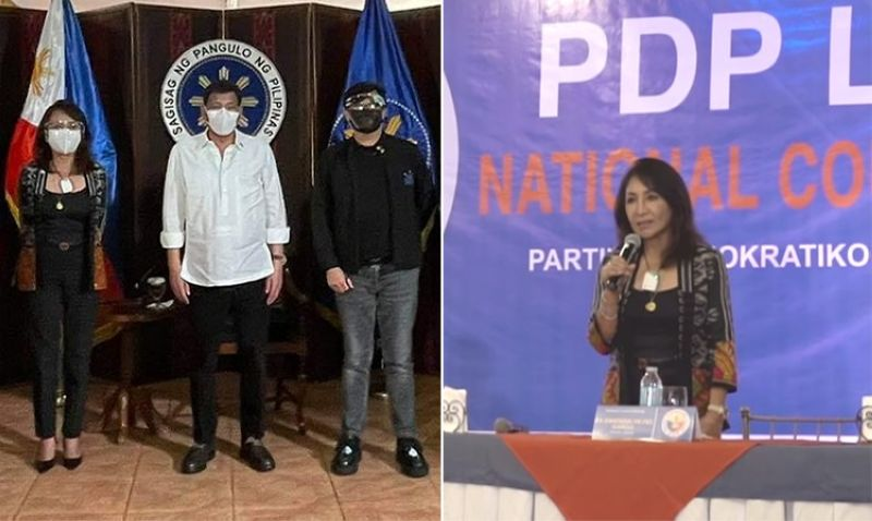 Cebu Governor Gwendolyn Garcia (left photo) with President Rodrigo Duterte and Presidential Assistant for the Visayas Secretary Michael Lloyd Dino in Malacañang, and Garcia (right photo) at the PDP-Laban national council meeting in Cebu. (OPAV/Screenshot from Sugbo News video)
