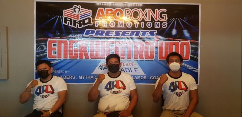 FIGHT. From left, ARQ technical staff engineer Ernie Domen, ARQ Sports director Chelito Caro and ARQ strength and conditioning coach Roger Potot. / EDRI AZNAR