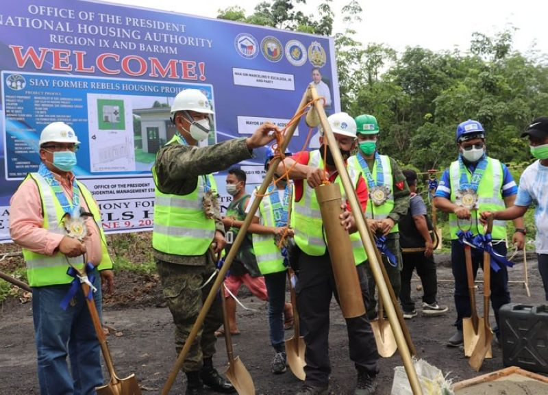 ZAMBOANGA. The Regional Task Force to End Local Communist Armed Conflict launches Wednesday, June 9, the housing projects intended for former members of the New People's Army in the provinces of Zamboanga del Norte and Zamboanga Sibugay. A photo handout shows military and government officials conduct a groundbreaking ceremony that signals the start of the construction of the housing units. (SunStar Zamboanga)
