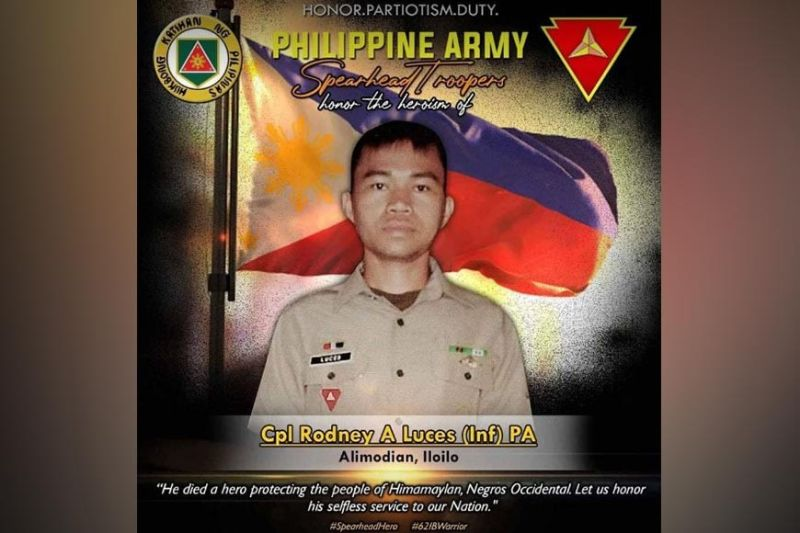 HONOR. The Philippine Army Spearhead Troopers honor the heroism of Corporal Rodney Luces, who died in an encounter with rebels in Himamaylan City, Negros Occidental June 9. (Contributed Photo)