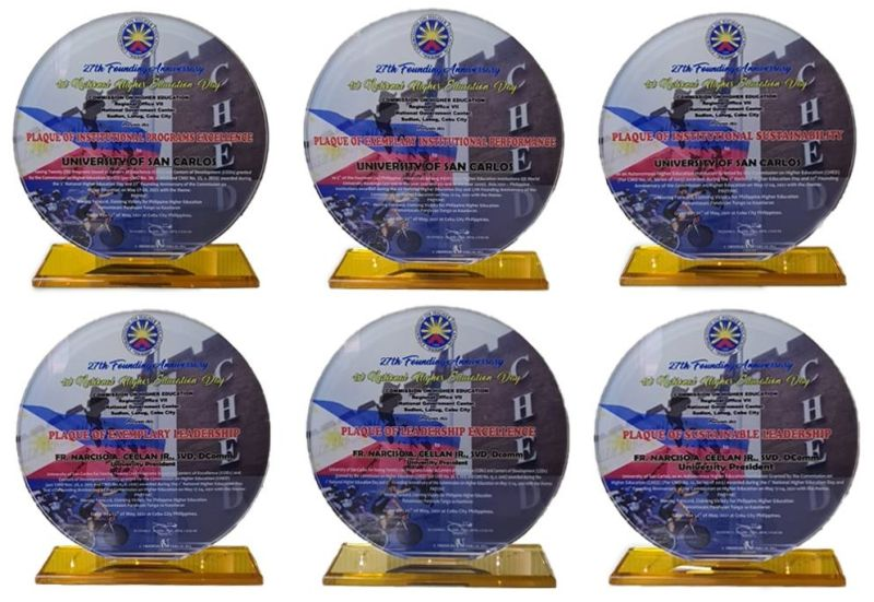 AWARDS. The University of San Carlos in Cebu City receives six excellence awards from the Commission on Higher Education on May 22, 2021. / CONTRIBUTED
