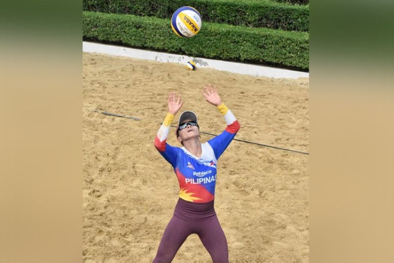 """Cebuana volleyball star Cherry Ann """"Sisi"""" Rondina and the rest of the Philippine beach volleyball team plunges into action today in the Asian Volleyball Confederation Continental Cup. (PNVF)"""