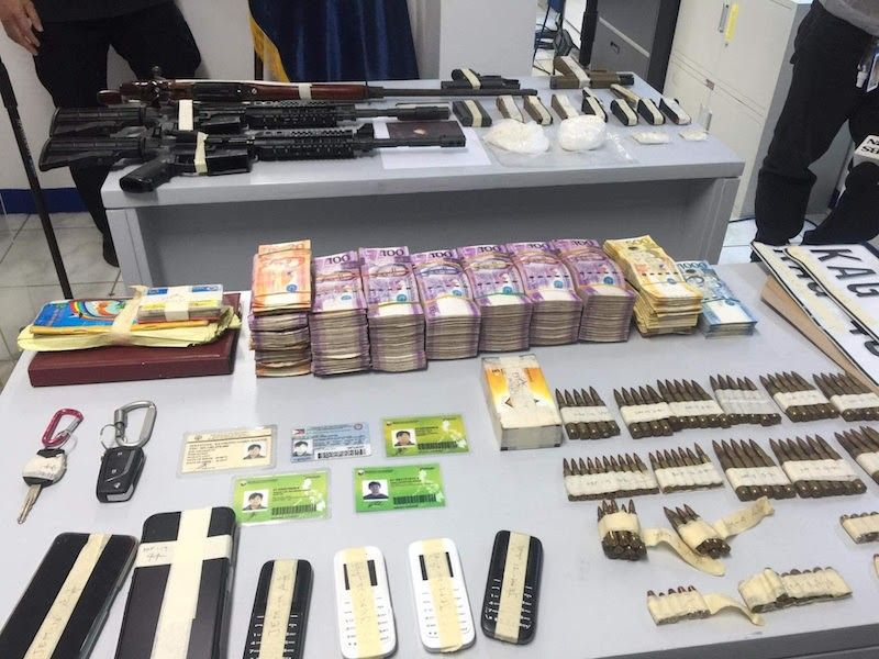 MANILA. Illegal firearms, ammunition, drugs and other items were seized from two vehicles believed to be owned by a former town mayor in  Maguindanao, who was also a former Special Action Force personnel. (Third Anne Peralta-Malonzo)