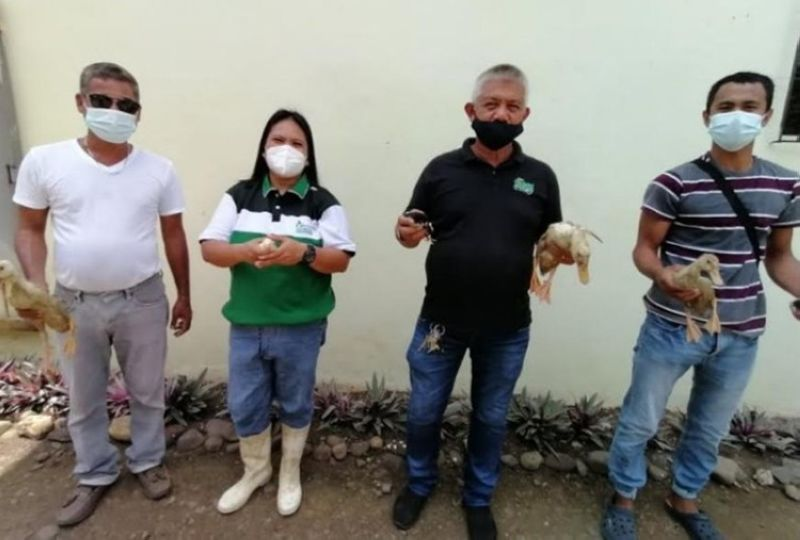 NEGROS. Farm Manager Regen Besa (second from the left) with Muad-Negros Executive Director Reynic Alo (second from right) and some members during the turnover of livelihood assistance at the Provincial Livestock Breeding Center and Dairy Farm in Barangay La Granja, La Carlota City on June 15, 2021. (Contributed Photo)
